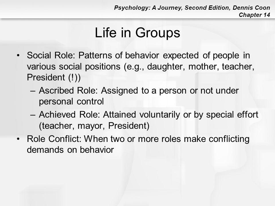 Life in Groups Social Role: Patterns of behavior expected of people in various social positions (e.g., daughter, mother, teacher, President (!))