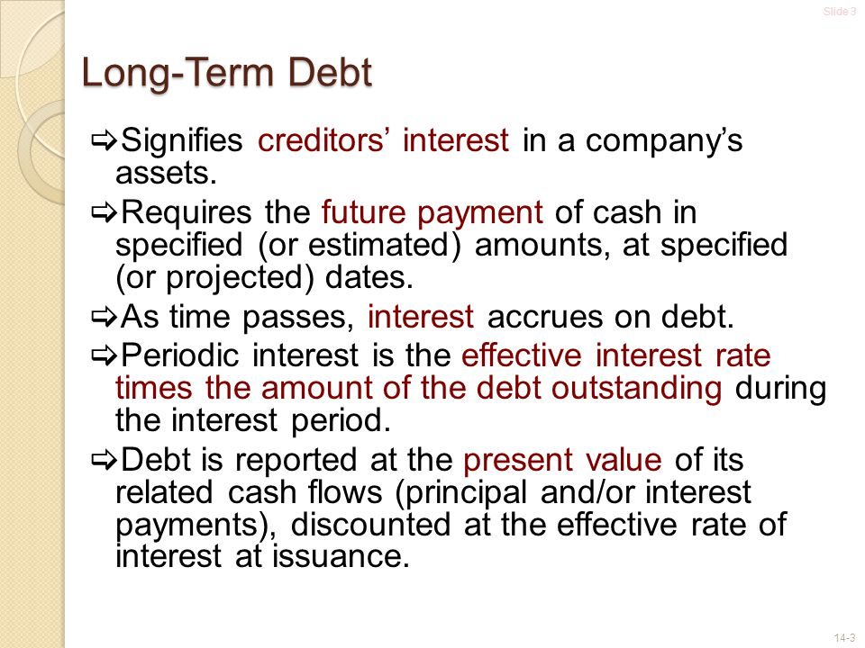 Long-Term Debt Signifies creditors' interest in a company's assets.