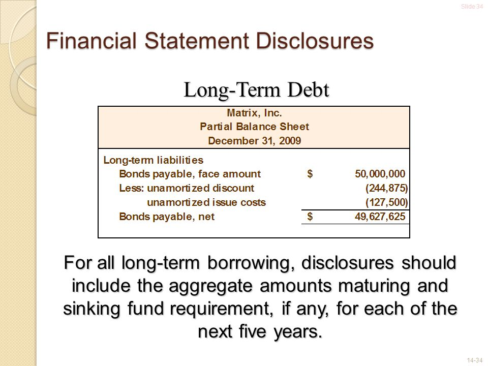 Financial Statement Disclosures