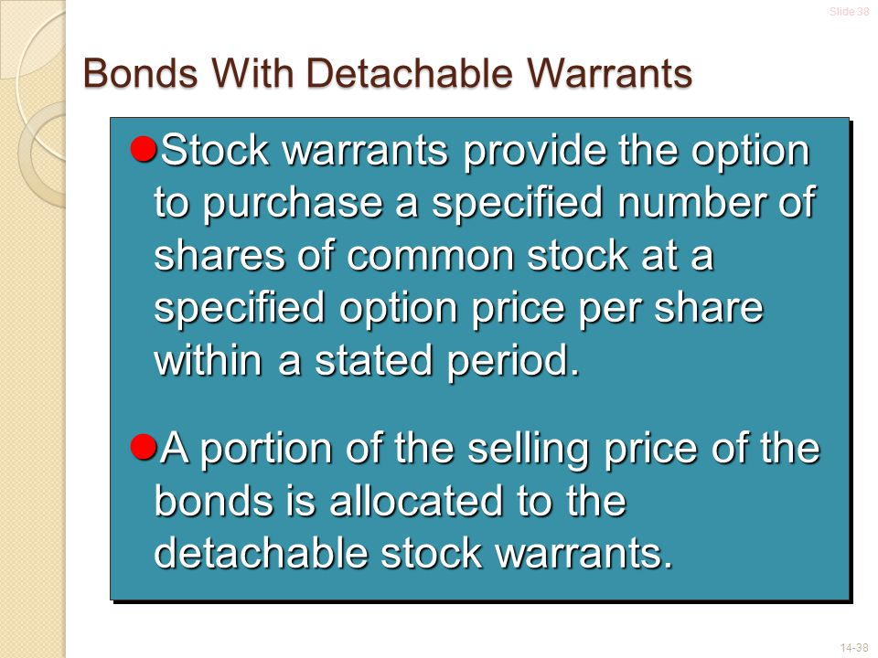 Bonds With Detachable Warrants