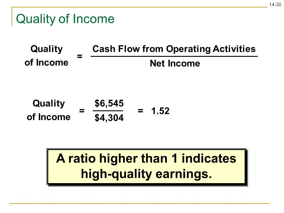 A ratio higher than 1 indicates high-quality earnings.