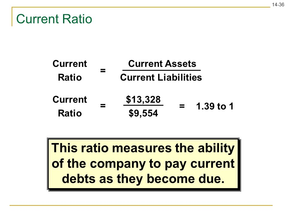 This ratio measures the ability of the company to pay current