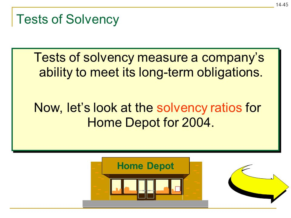 Now, let's look at the solvency ratios for Home Depot for 2004.