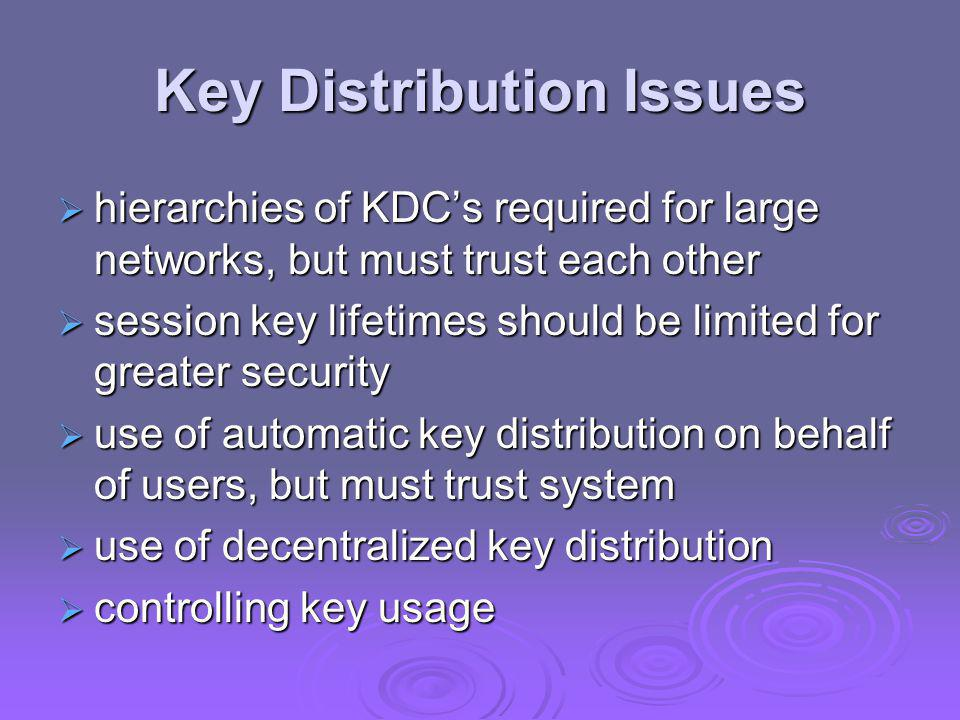 Key Distribution Issues