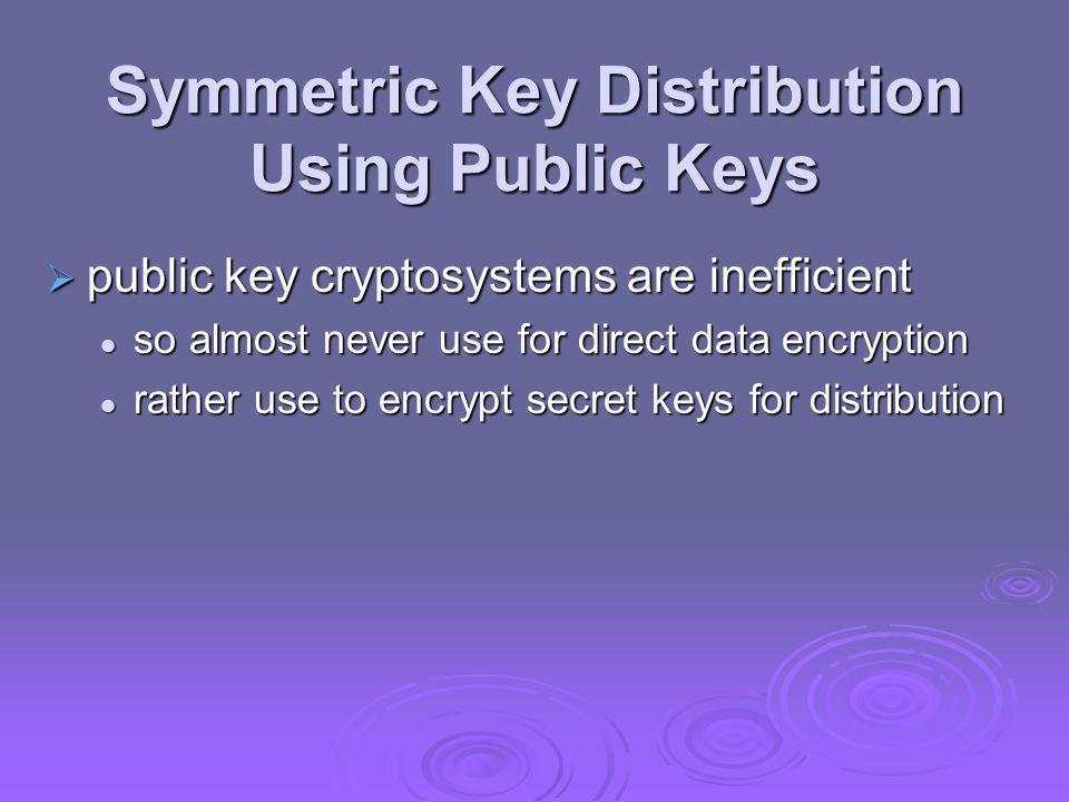 Symmetric Key Distribution Using Public Keys