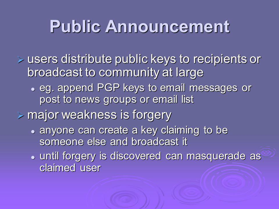 Public Announcement users distribute public keys to recipients or broadcast to community at large.