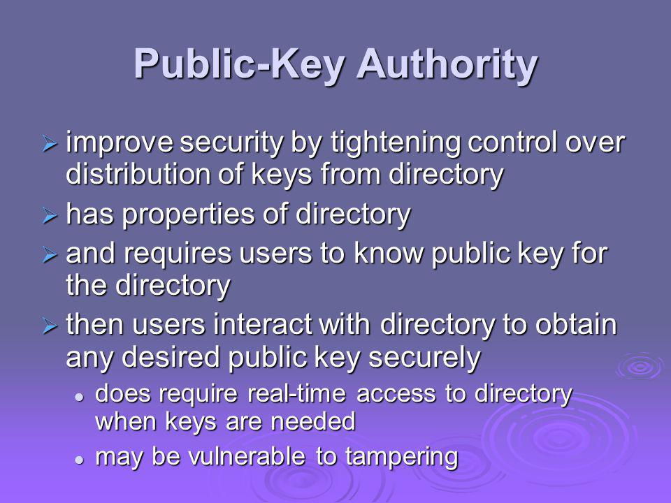 Public-Key Authority improve security by tightening control over distribution of keys from directory.