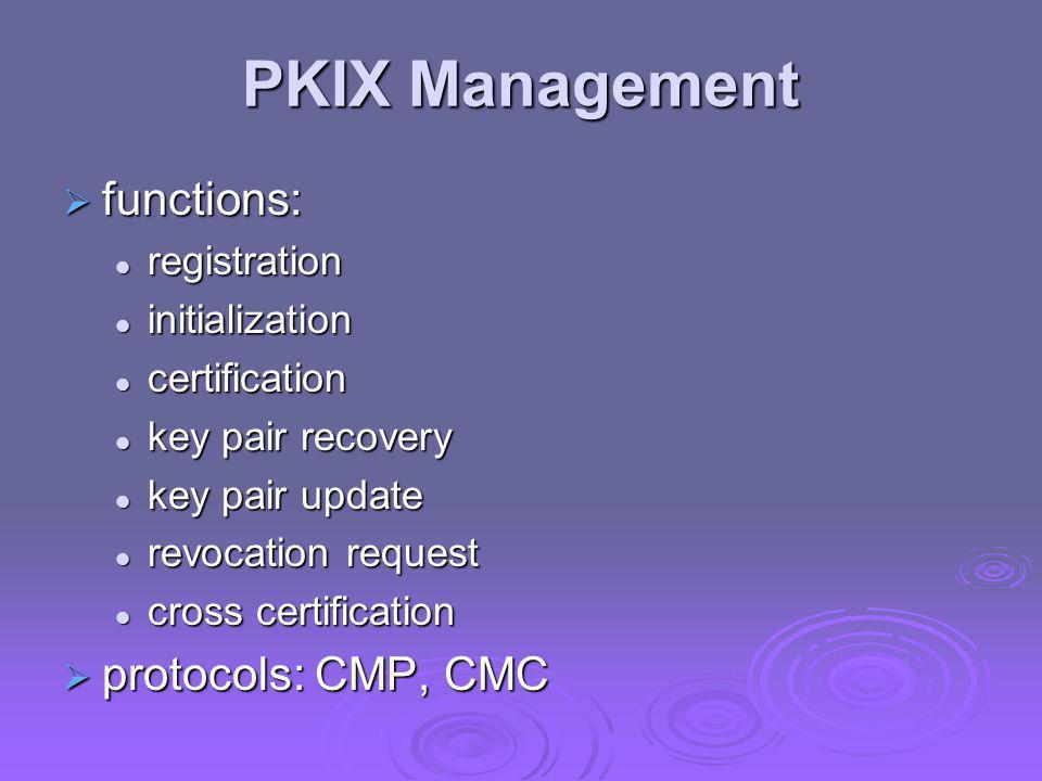 PKIX Management functions: protocols: CMP, CMC registration