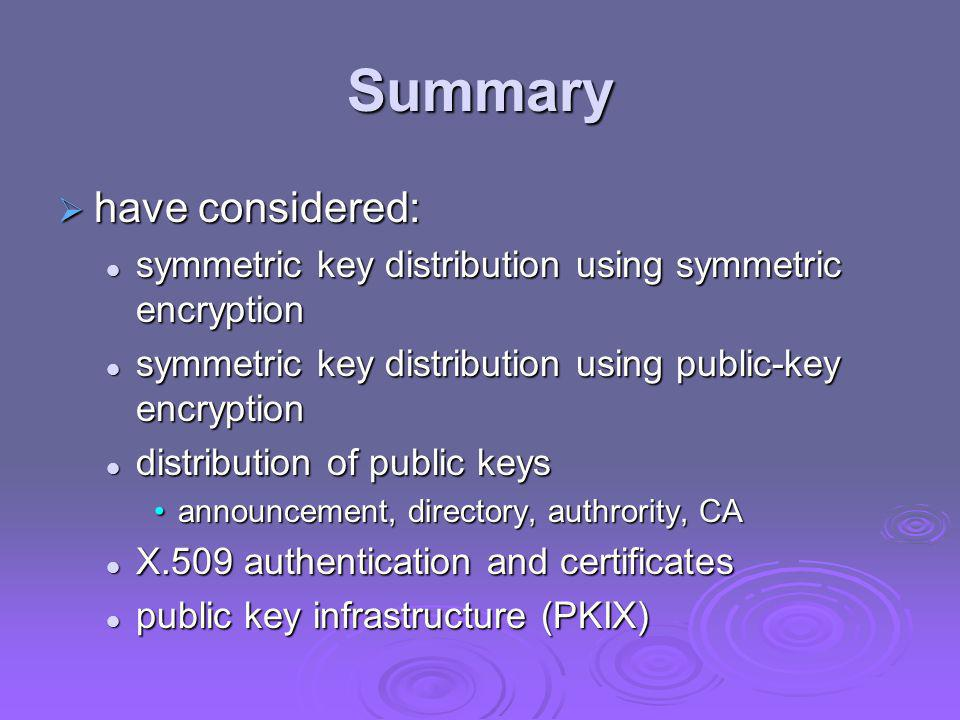 Summary have considered: