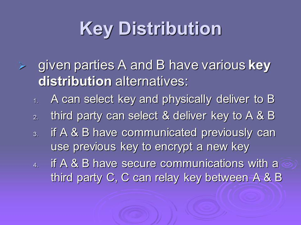 Key Distribution given parties A and B have various key distribution alternatives: A can select key and physically deliver to B.