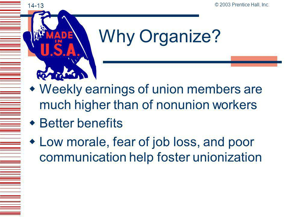 Why Organize Weekly earnings of union members are much higher than of nonunion workers. Better benefits.
