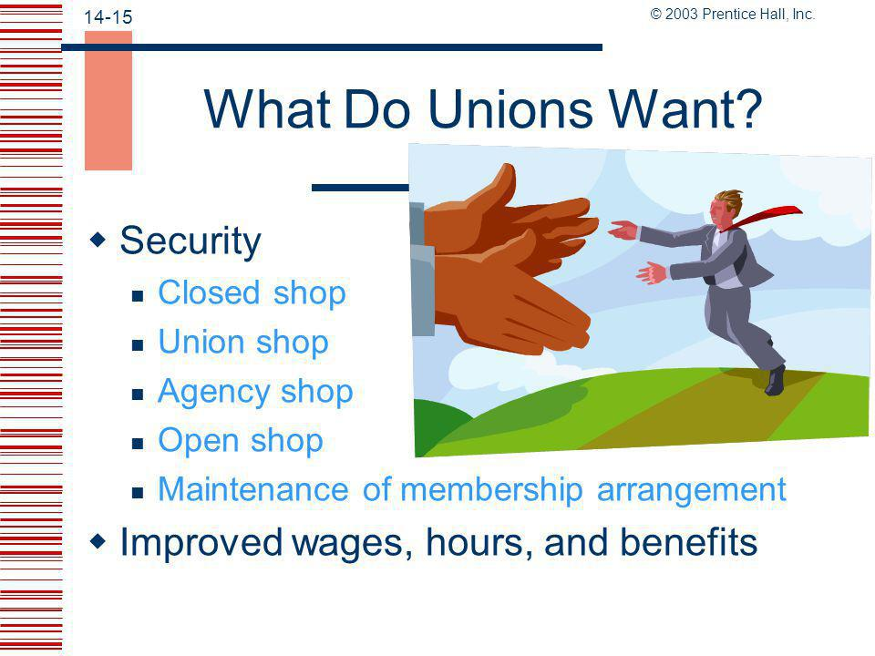 What Do Unions Want Security Improved wages, hours, and benefits