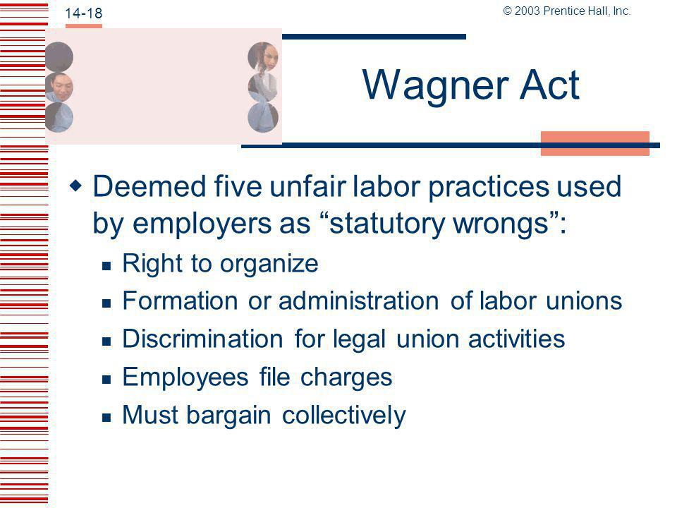 Wagner Act Deemed five unfair labor practices used by employers as statutory wrongs : Right to organize.