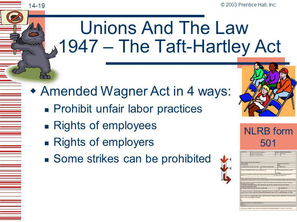 Unions And The Law 1947 – The Taft-Hartley Act