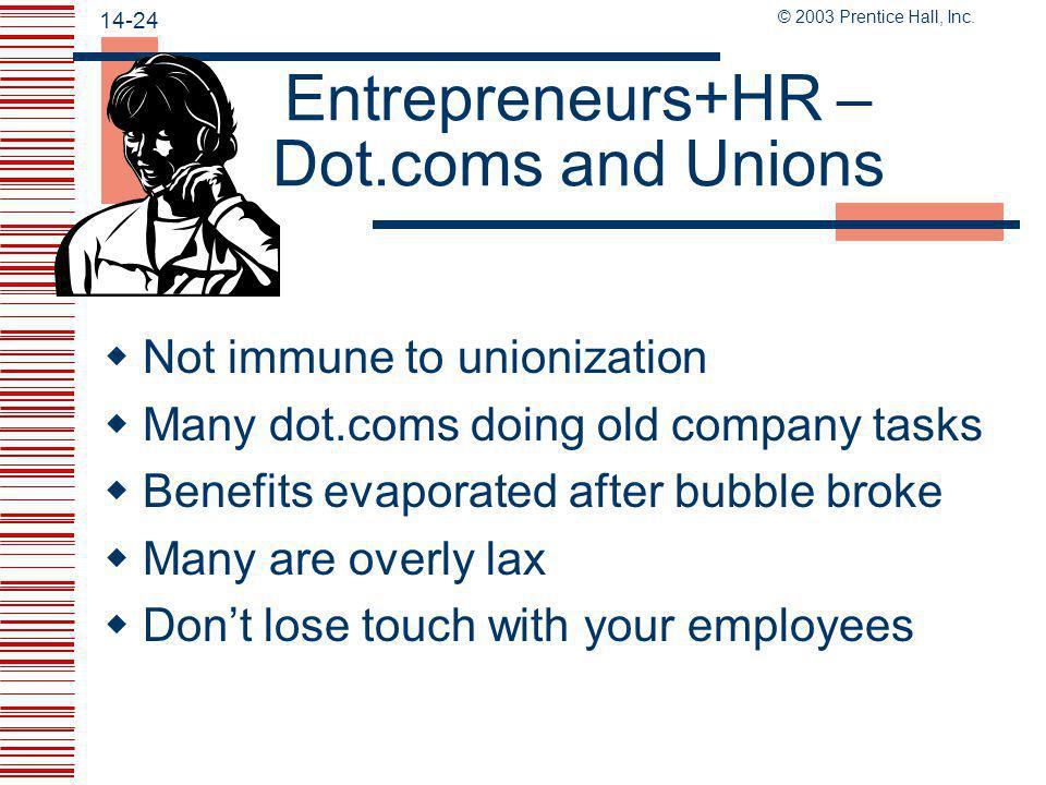 Entrepreneurs+HR – Dot.coms and Unions