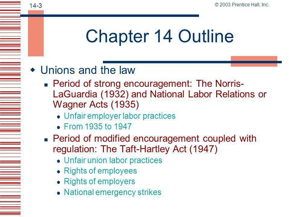 Chapter 14 Outline Unions and the law