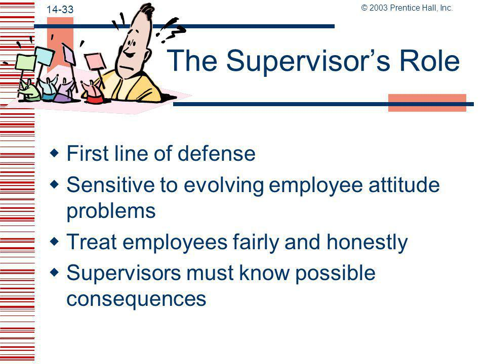 The Supervisor's Role First line of defense