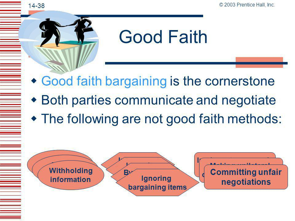 Good Faith Good faith bargaining is the cornerstone