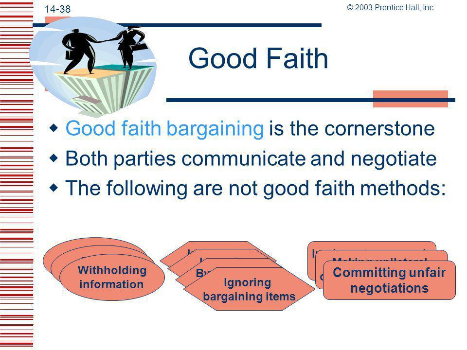 Good Faith Good faith bargaining is the cornerstone