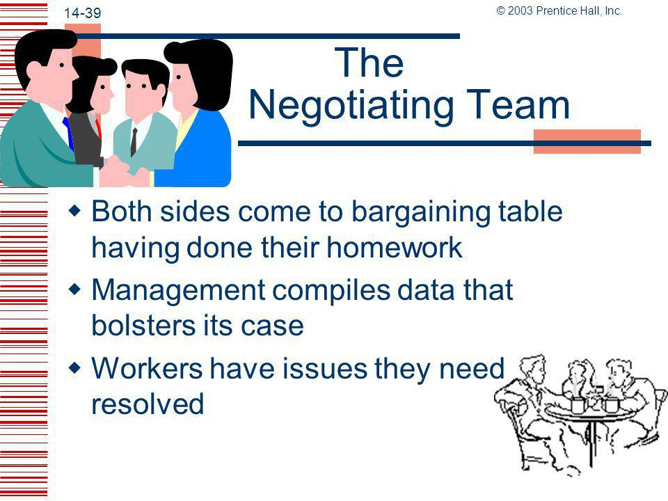 The Negotiating Team Both sides come to bargaining table having done their homework. Management compiles data that bolsters its case.