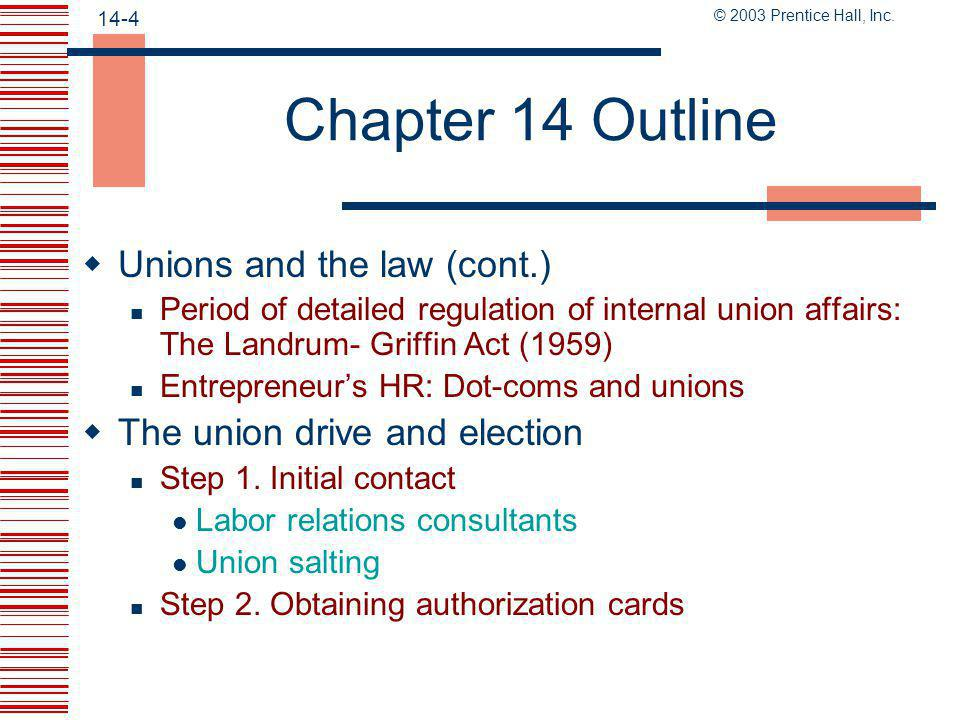 Chapter 14 Outline Unions and the law (cont.)