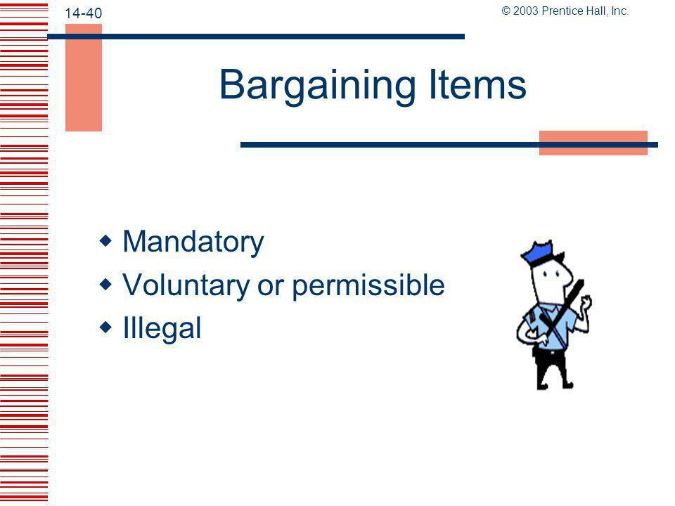Bargaining Items Mandatory Voluntary or permissible Illegal Page 414