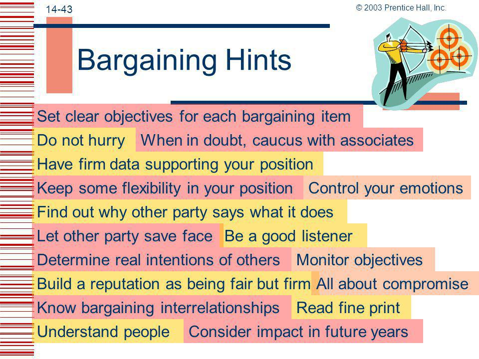 Bargaining Hints Set clear objectives for each bargaining item