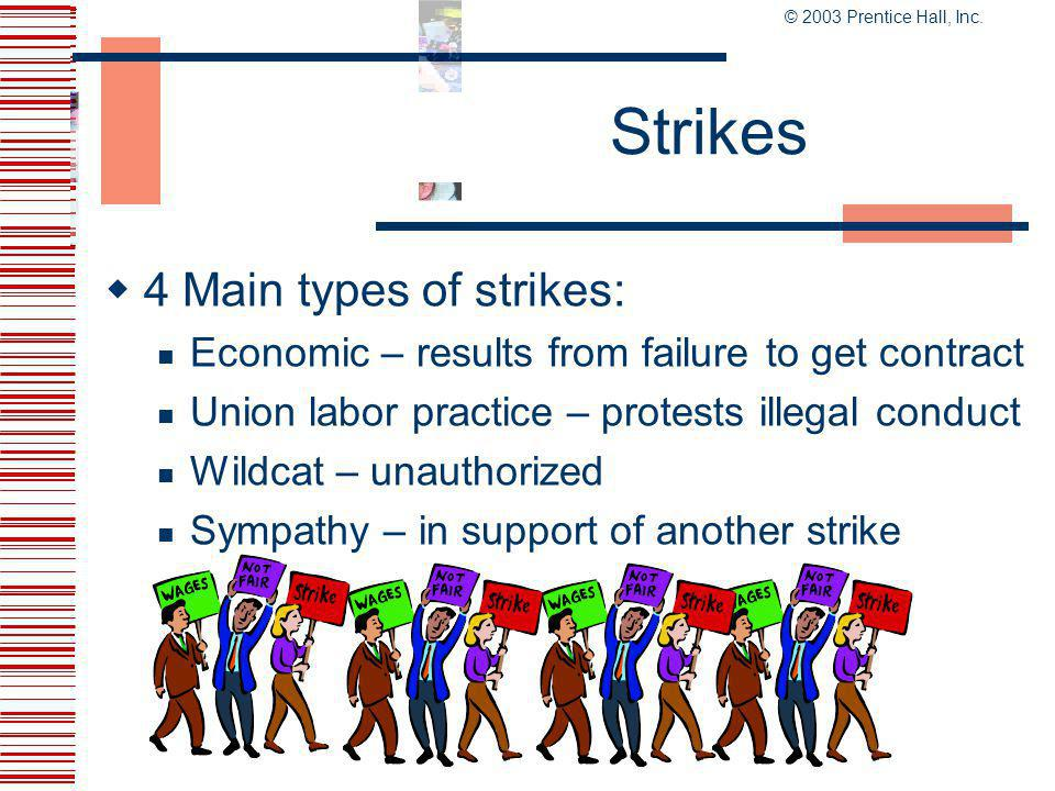 Strikes 4 Main types of strikes: