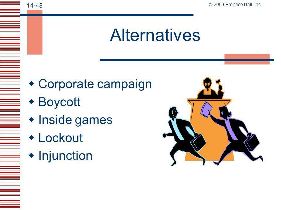 Alternatives Corporate campaign Boycott Inside games Lockout