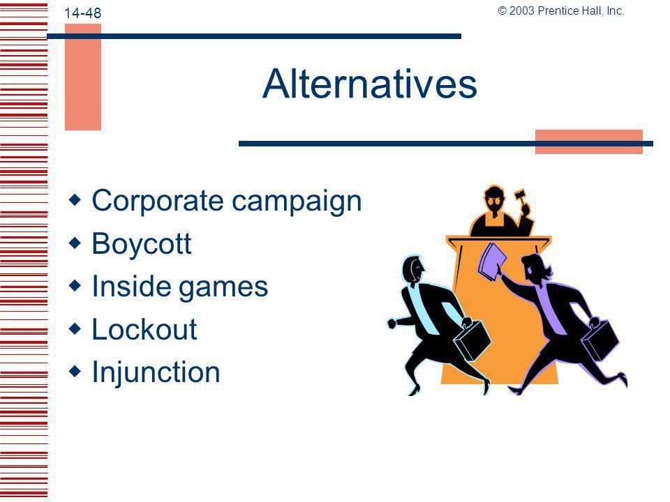 Alternatives Corporate campaign Boycott Inside games Lockout