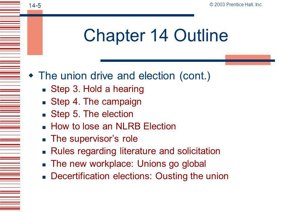 Chapter 14 Outline The union drive and election (cont.)