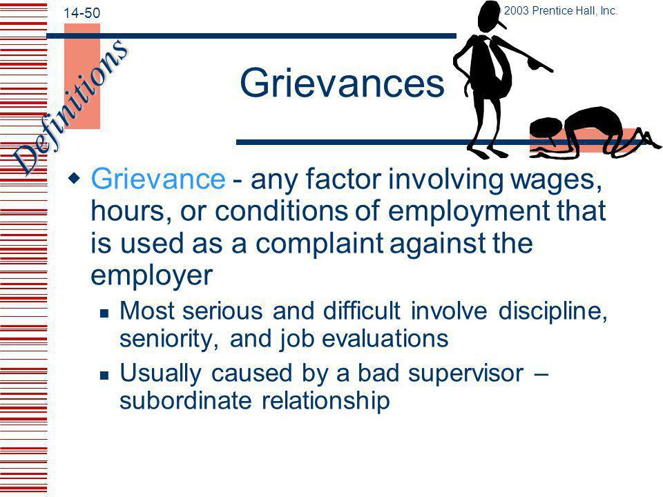 Grievances Definitions