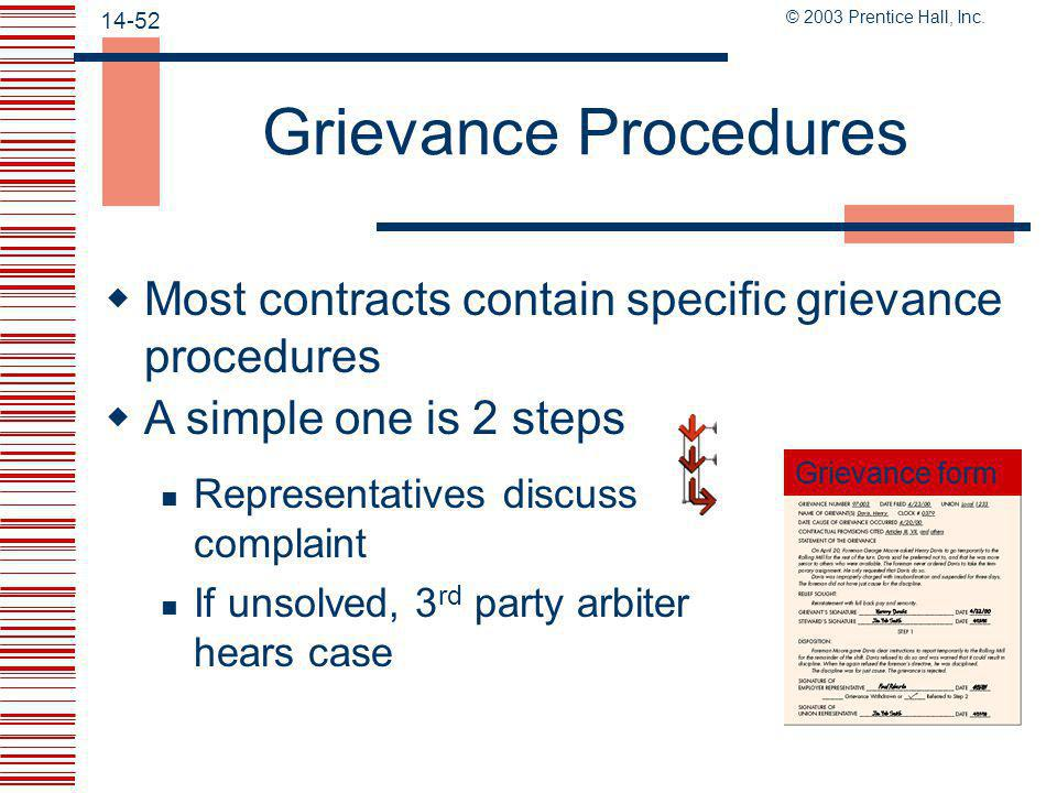 Grievance Procedures Most contracts contain specific grievance procedures. A simple one is 2 steps.