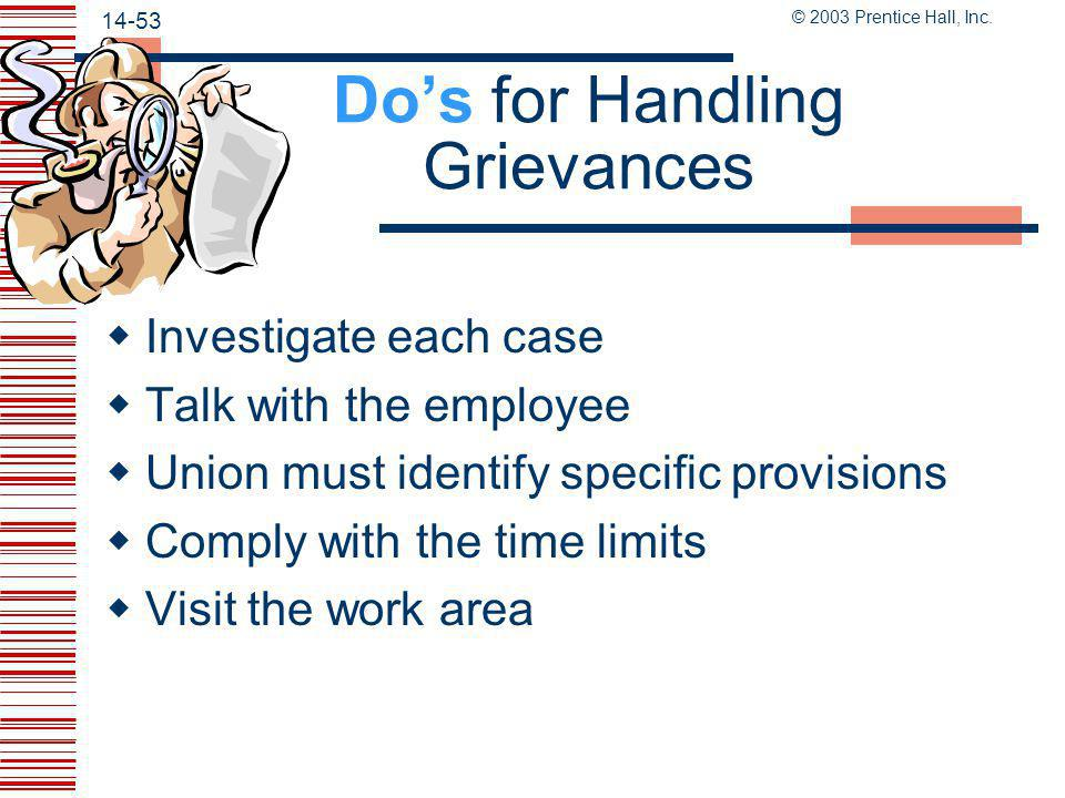 Do's for Handling Grievances