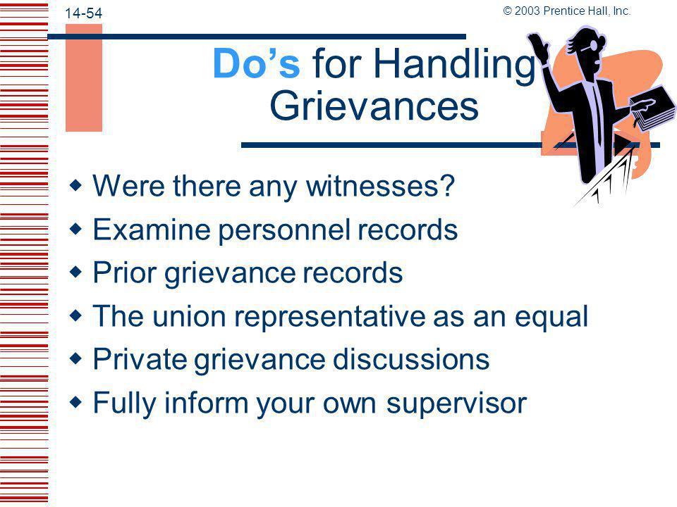 Do's for Handling Grievances