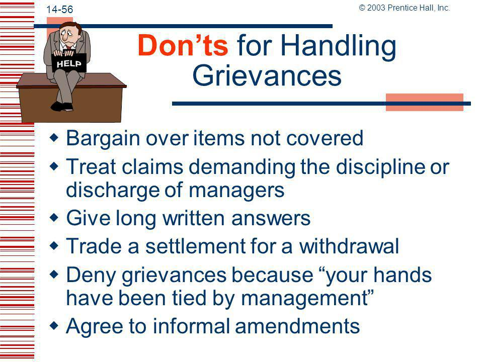 Don'ts for Handling Grievances