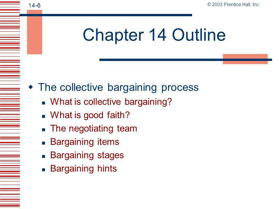 Chapter 14 Outline The collective bargaining process