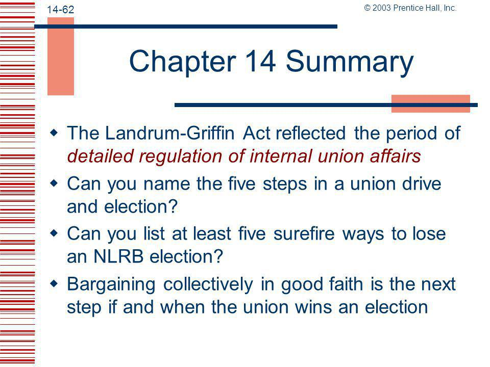 Chapter 14 Summary The Landrum-Griffin Act reflected the period of detailed regulation of internal union affairs.