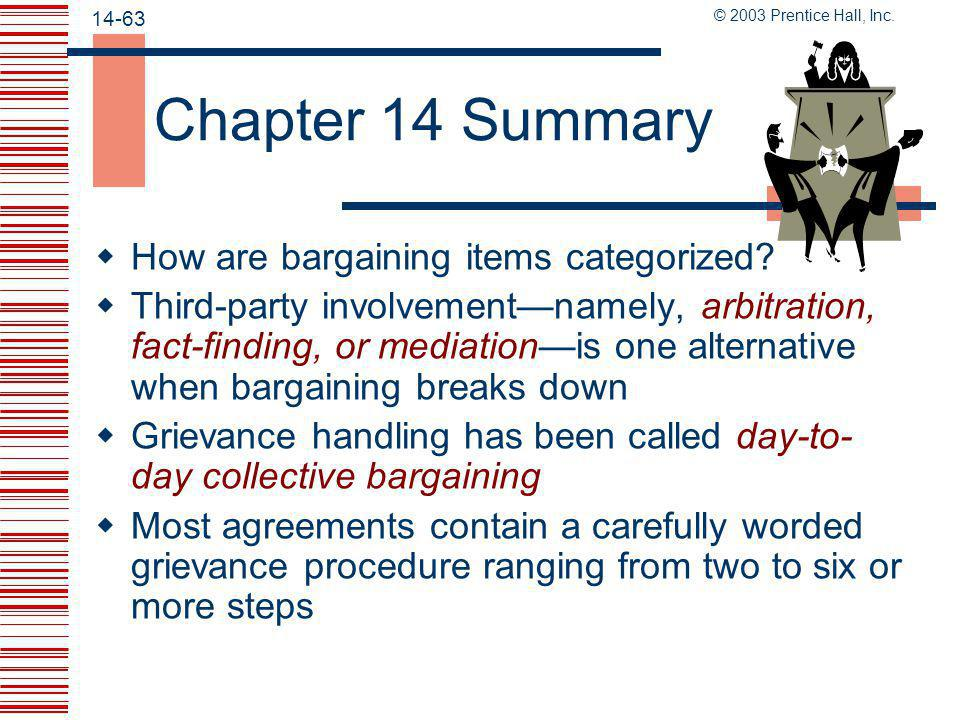 Chapter 14 Summary How are bargaining items categorized