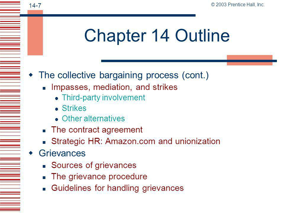 Chapter 14 Outline The collective bargaining process (cont.)
