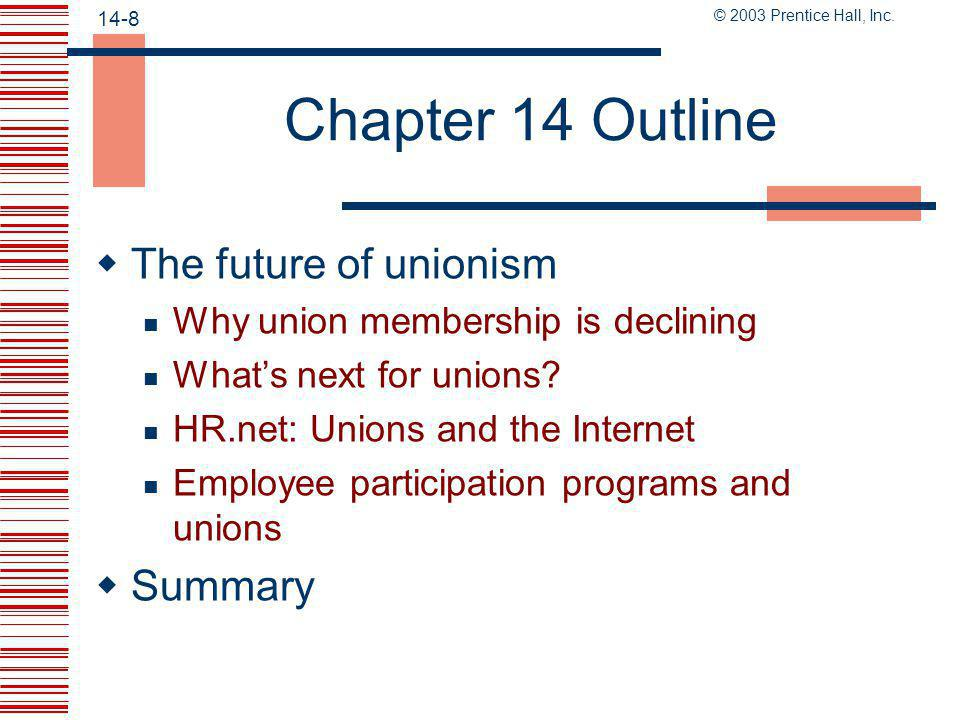 Chapter 14 Outline The future of unionism Summary