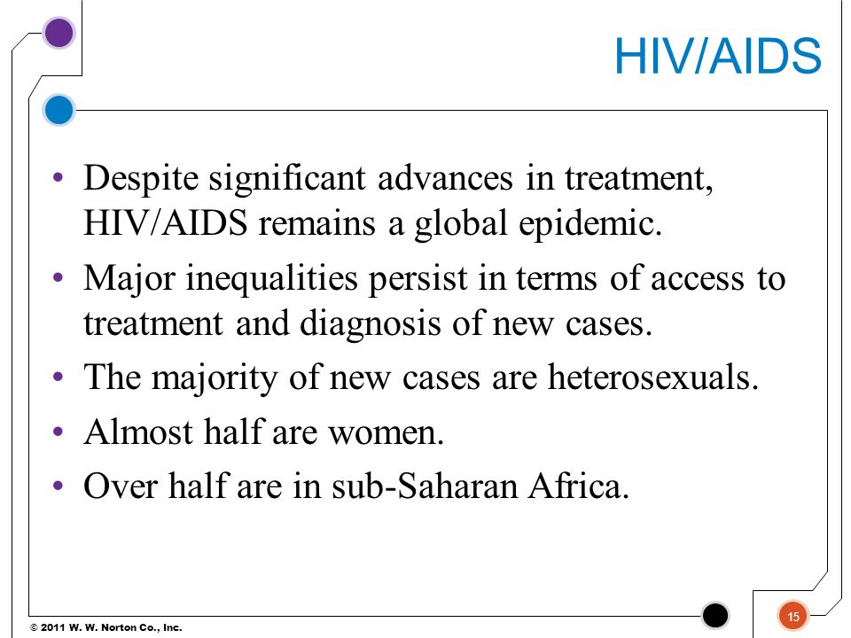 HIV/AIDS Despite significant advances in treatment, HIV/AIDS remains a global epidemic.
