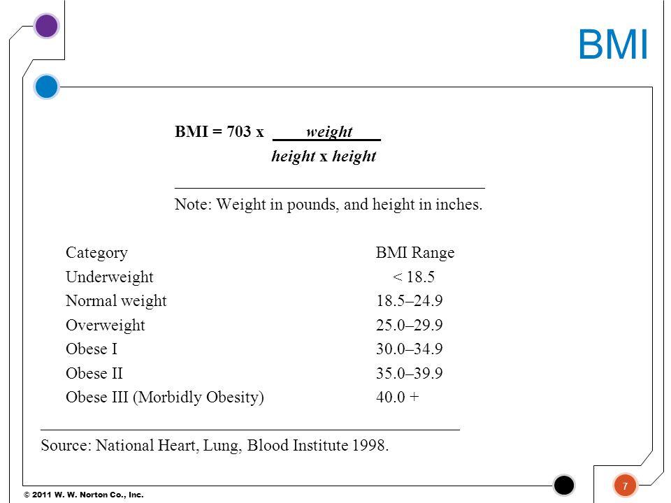 BMI BMI = 703 x ____weight ___ height x height