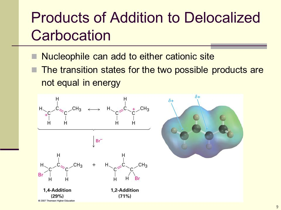 Products of Addition to Delocalized Carbocation