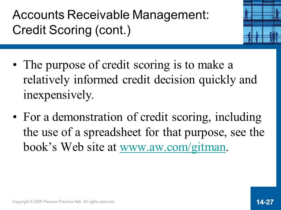 Accounts Receivable Management: Credit Scoring (cont.)