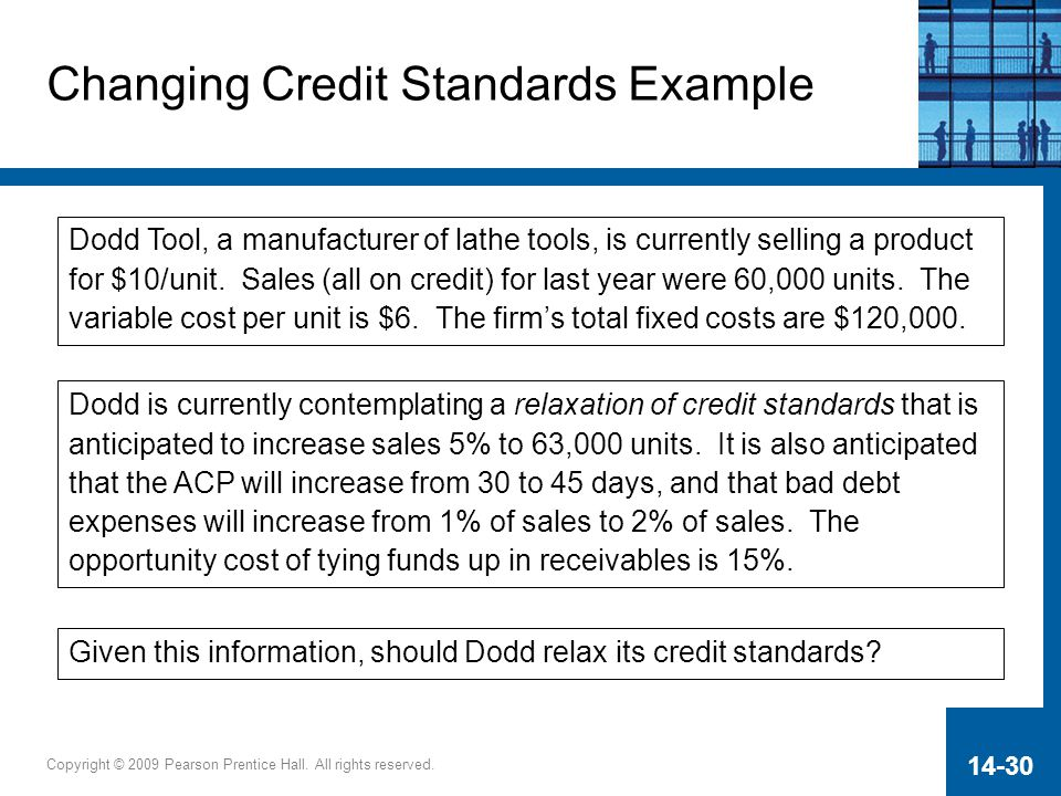 Changing Credit Standards Example