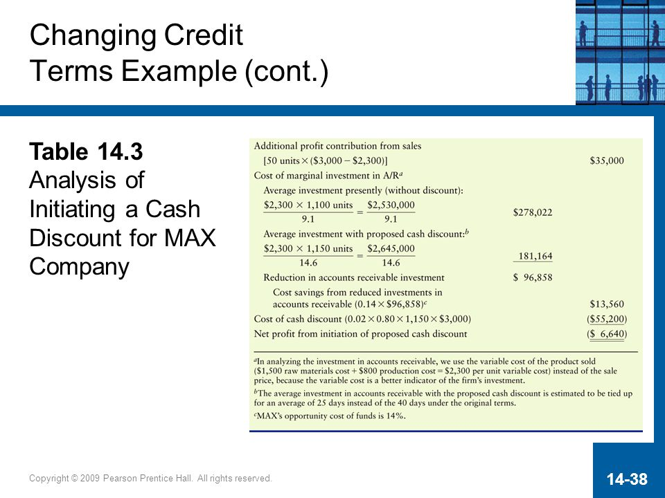 Changing Credit Terms Example (cont.)