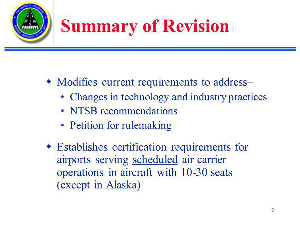 Summary of Revision Modifies current requirements to address–