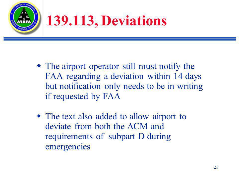 139.113, Deviations
