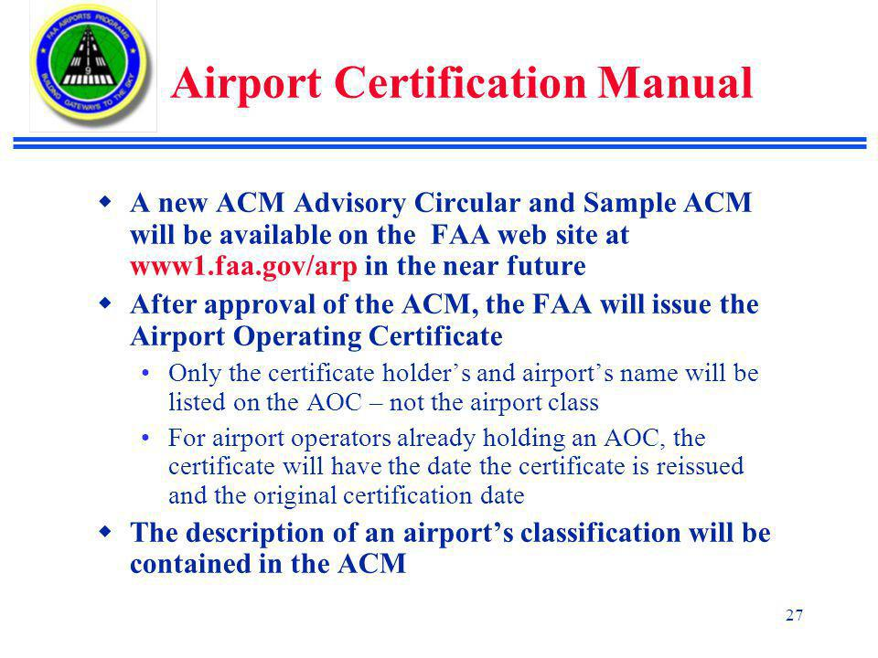 Airport Certification Manual